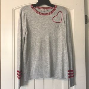 Loft Gray and Red Love Sweater Size Medium